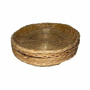 5 Vintage Wicker Ratan Bamboo Paper Plate Holder